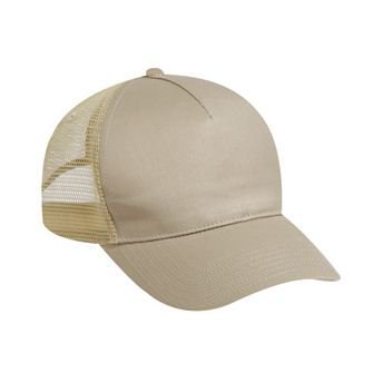 OTTO Cotton Twill 5 Panel Low Profile Mesh Back Trucker Hat - Khaki