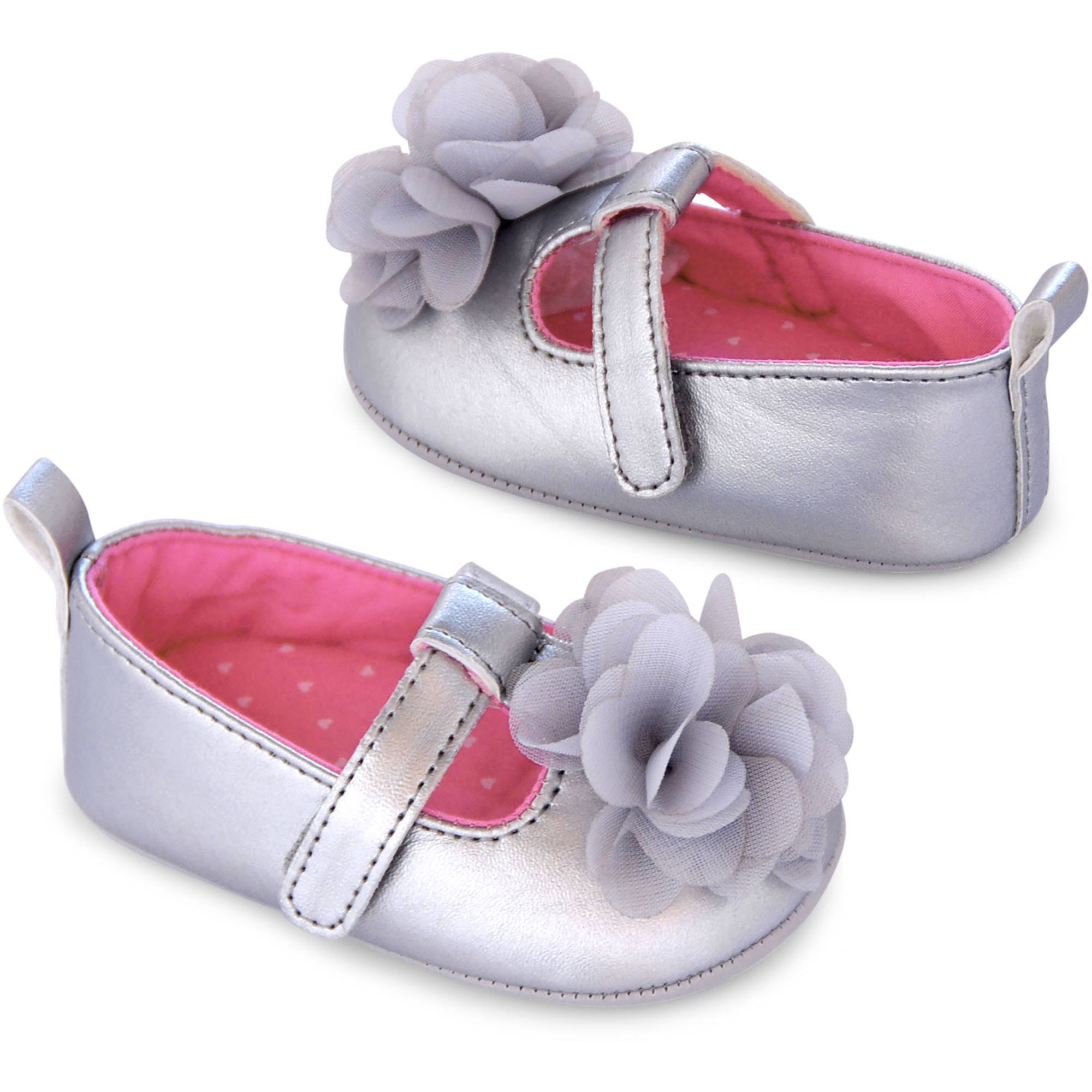 Child of Mine by Carter's Newborn Baby Girl Silver T-Strap Mary Jane Shoes
