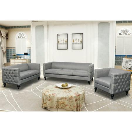 Durlesti 3 Pieces Modern Sofa Set Upholstered in Gray Linen Fabric -  Walmart.com