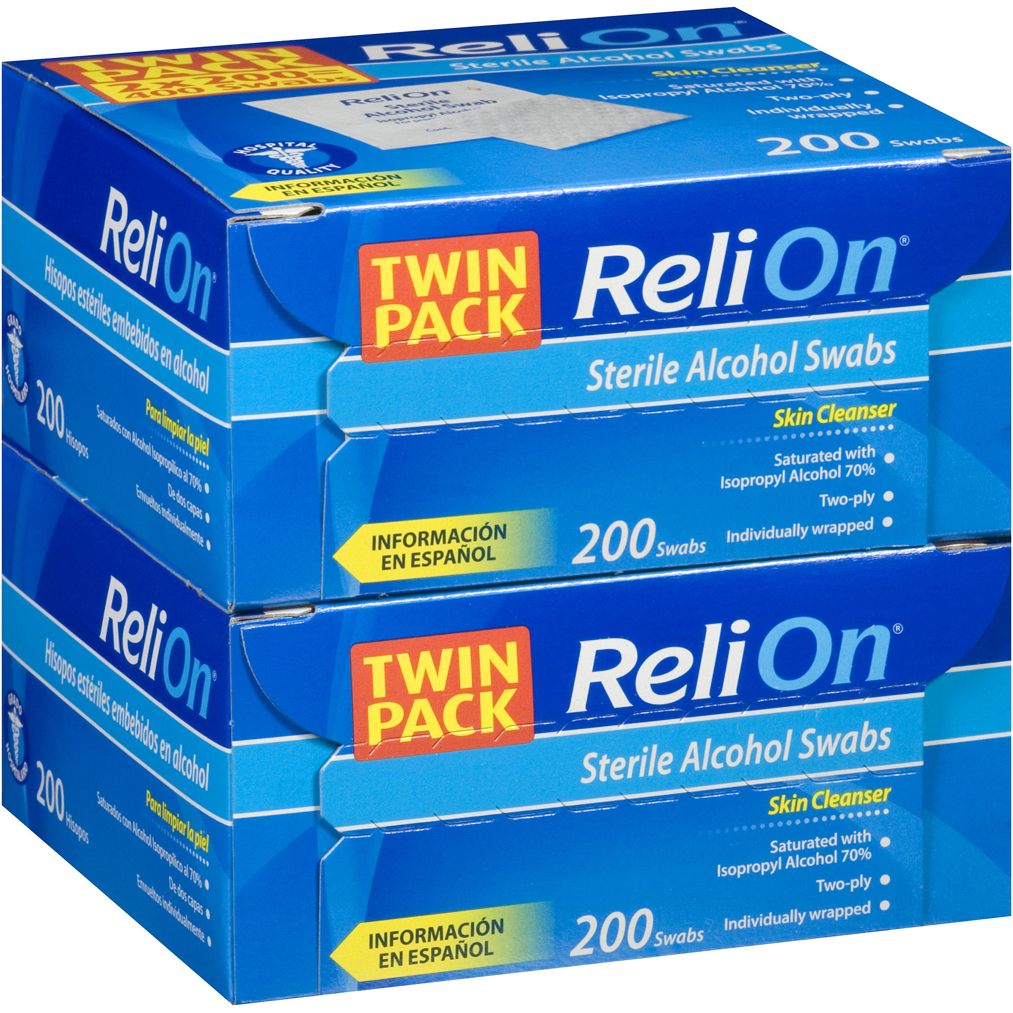 ReliOn Sterile Alcohol Swabs, 200 count, (Pack of 2)