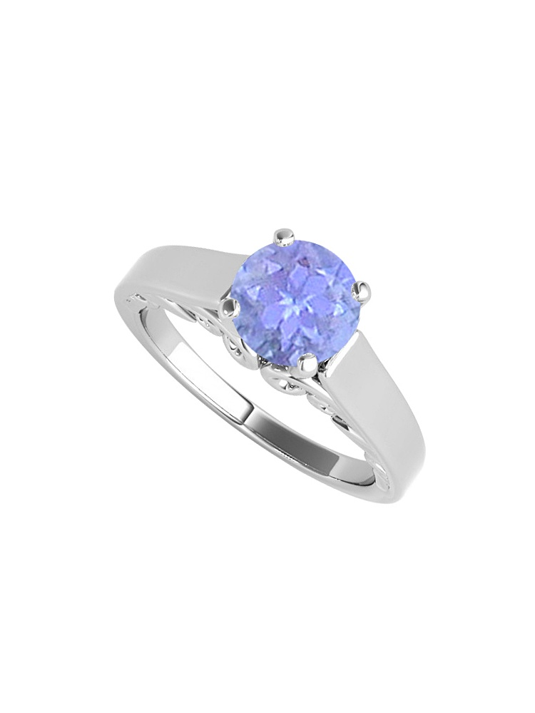 1.00 Carat Tanzanite Solitaire Ring 925 Sterling Silver by Love Bright