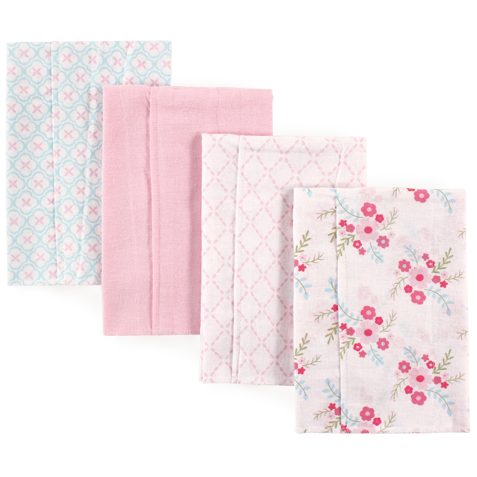 Luvable Friend Baby Boy and Girl Burp Cloths Flannel, 4-Pack - Floral