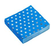 50 Pack Metallic Silver Foil Stars Cocktail Napkins, 5 x 5 inches, 3-Ply Blue Disposable Paper Napkins for Patriotic Party Favors, Labor Day, Veteran's day, Memorial Day and 4th of July Celebration.