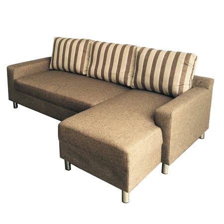 Kachy Modern Fabric Upholstered Right Facing Convertible Sectional Sofa  Sleeper, Brown, S0066