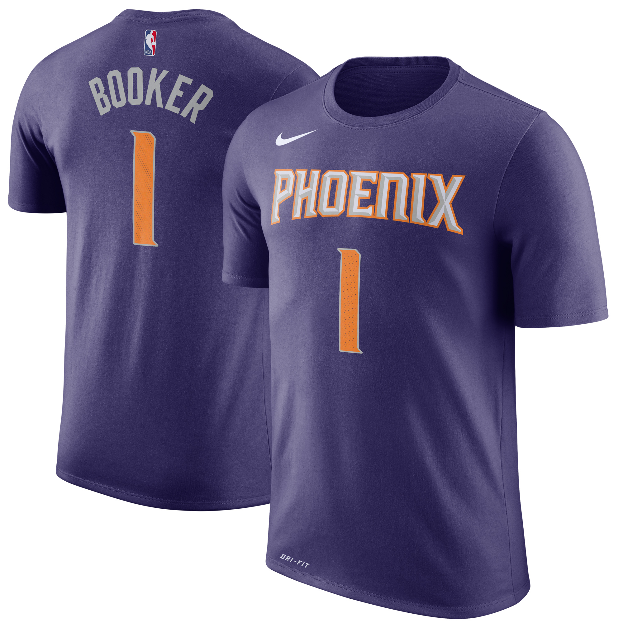 nike men's phoenix suns devin booker #1 dri-fit purple t-shirt