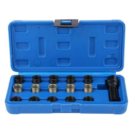 Yosoo 16Pcs 14mm x 1.25 Spark Plug Thread Repair Tool Kit M16 Tap W/ Portable Case,Spark Plug Thread Repair Tool, Spark Plug Repair Tool