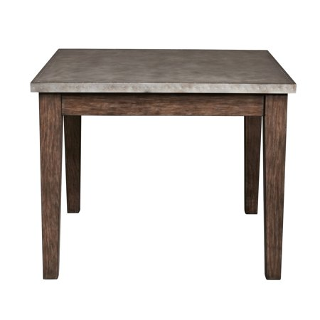 - Vintage Industrial Style Metal Wrapped Dining Table in Distressed Chocolate