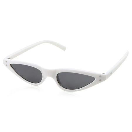 5a784a7316 Womens Slim 90s Retro Flat Lens White Cat Eye Sunglasses - Walmart.com