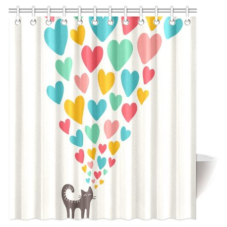 - MYPOP Cat Lover Shower Curtain, Cute Cat in Love with Colorful Different Sizes of Hearts Happy Sweet Clipart Fabric Bathroom Shower Curtain with Hooks, 66 X 72 Inches