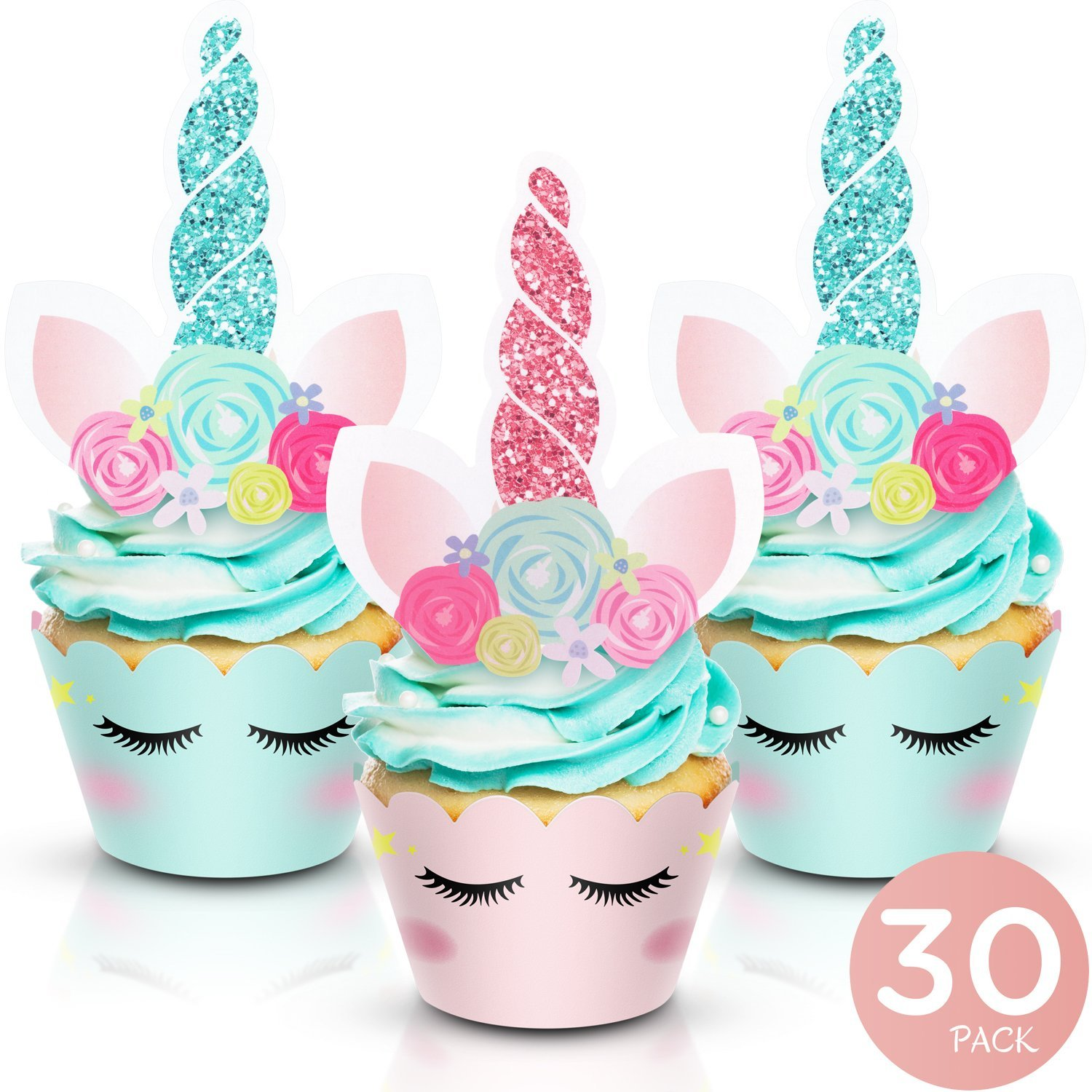 Unicorn Cupcake Toppers and Wrappers - Party Supplies for Birthday, Baby Shower, Valentine, Baby Shower - Double-Sided Glitter Design Cake Decorations. 30 Pairs