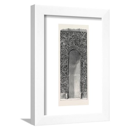 Doorway Carved in Pine Wood (Russian) 1868 Framed Print Wall (Carved Wood Art)