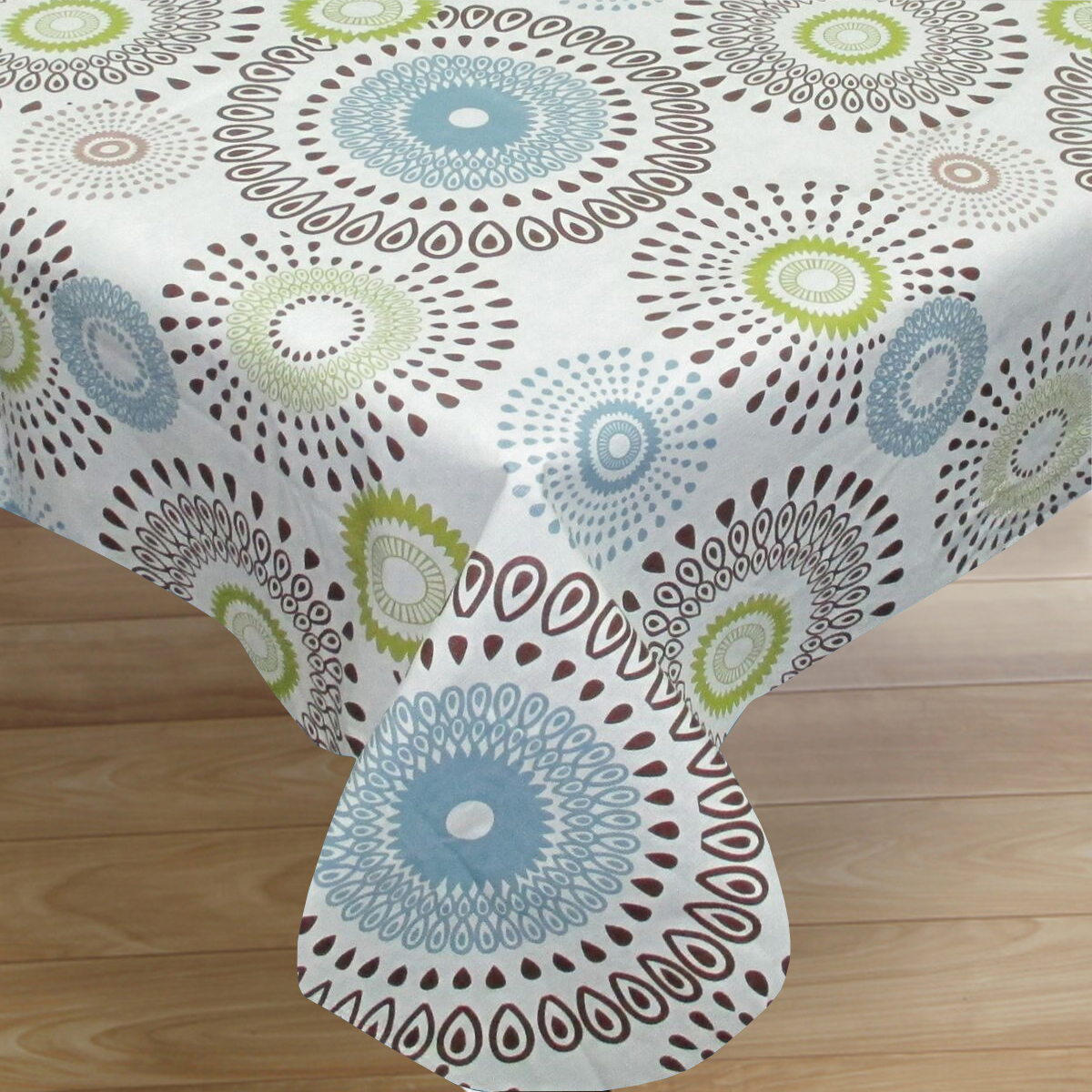 "Contemporary Whimsy Print Flannel Back Vinyl Tablecloth 52""x70"""