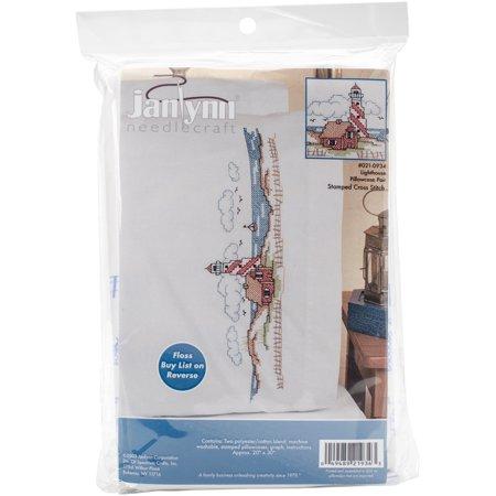 "Lighthouse Pillowcase Pair Stamped Cross Stitch, 20"" x 30"""