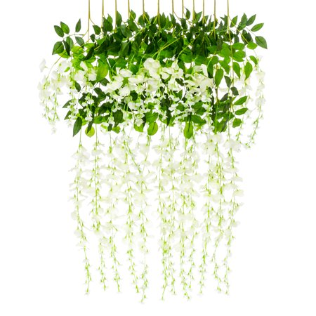 Best Choice Products 3.6ft Artificial Silk Wisteria Vine Hanging Flower Rattan Decor for Weddings and Events Home 12 Pack,