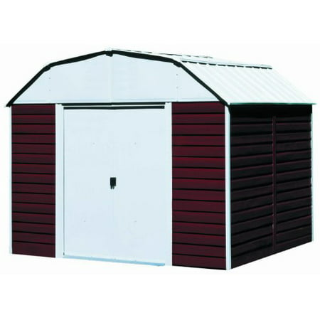 ARROW SHEDS RH1014 RED BARN 10FT X 14FT STEEL EGGSHEEL&RED- DOOR=W55.5IN X H69.25IN