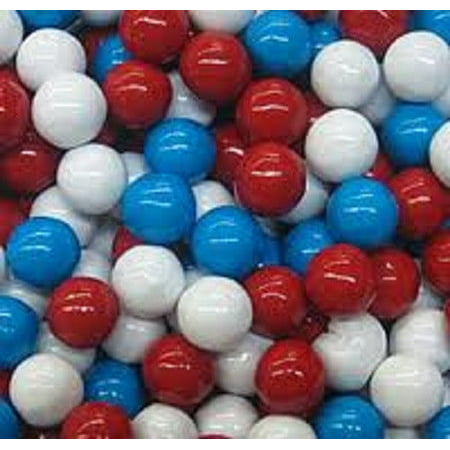 BAYSIDE CANDY SIXLETS RED WHITE AND BLUE, 1LB - White Sixlets