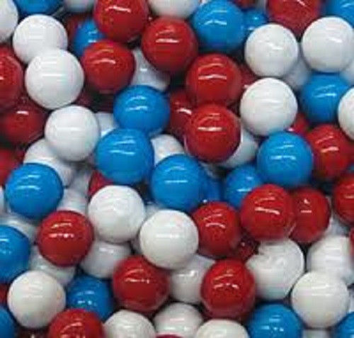 BAYSIDE CANDY SIXLETS RED WHITE AND BLUE, 1LB