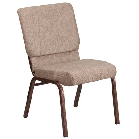 Flash Furniture HERCULES Series 18.5''W Beige Fabric Stacking Church Chair with 4.25'' Thick Seat - Copper Vein -