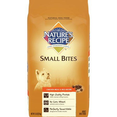 Bites Dry Food - Nature's Recipe Small Bites Chicken meal & Rice Recipe Dry Dog Food, 4.5-Pound