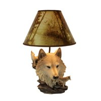 Gray Wolf Bust Table Lamp W/ Nature Print Shade