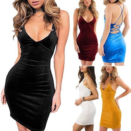 d1d348b47f00 Urkutoba - Women Sexy Slim Bodycon Dress Plunge Front Deep V-Neck Backless  Dress Summer Women Clothes Mini Dresses - Walmart.com