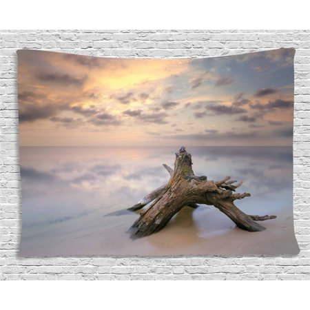 Driftwood Decor Tapestry, Sunrise on the Water and Driftwood on the Sandy Beach Digital Image, Wall Hanging for Bedroom Living Room Dorm Decor, 60W X 40L Inches, Tan and Yellow, by Ambesonne