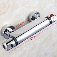 Thermostatic Shower Mixer Valve Bar Exposed Chrome Round Modern Bathroom