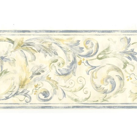 Acanthus Scroll - 879710 Acanthus Scroll Blue Green Yellow Wallpaper Border 82b66121
