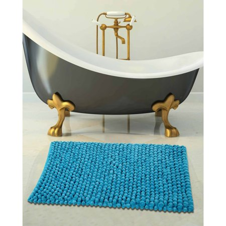 Saffron Fabs Bath Rug Cotton and Microfiber, Solid Color Microfiber Bubble Loop Pattern, Assorted Colors and Sizes