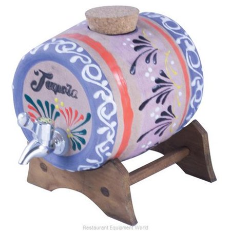 World Cuisine A5401244 1 gal Ceramic Tequila Barrel with Wood Stand ()