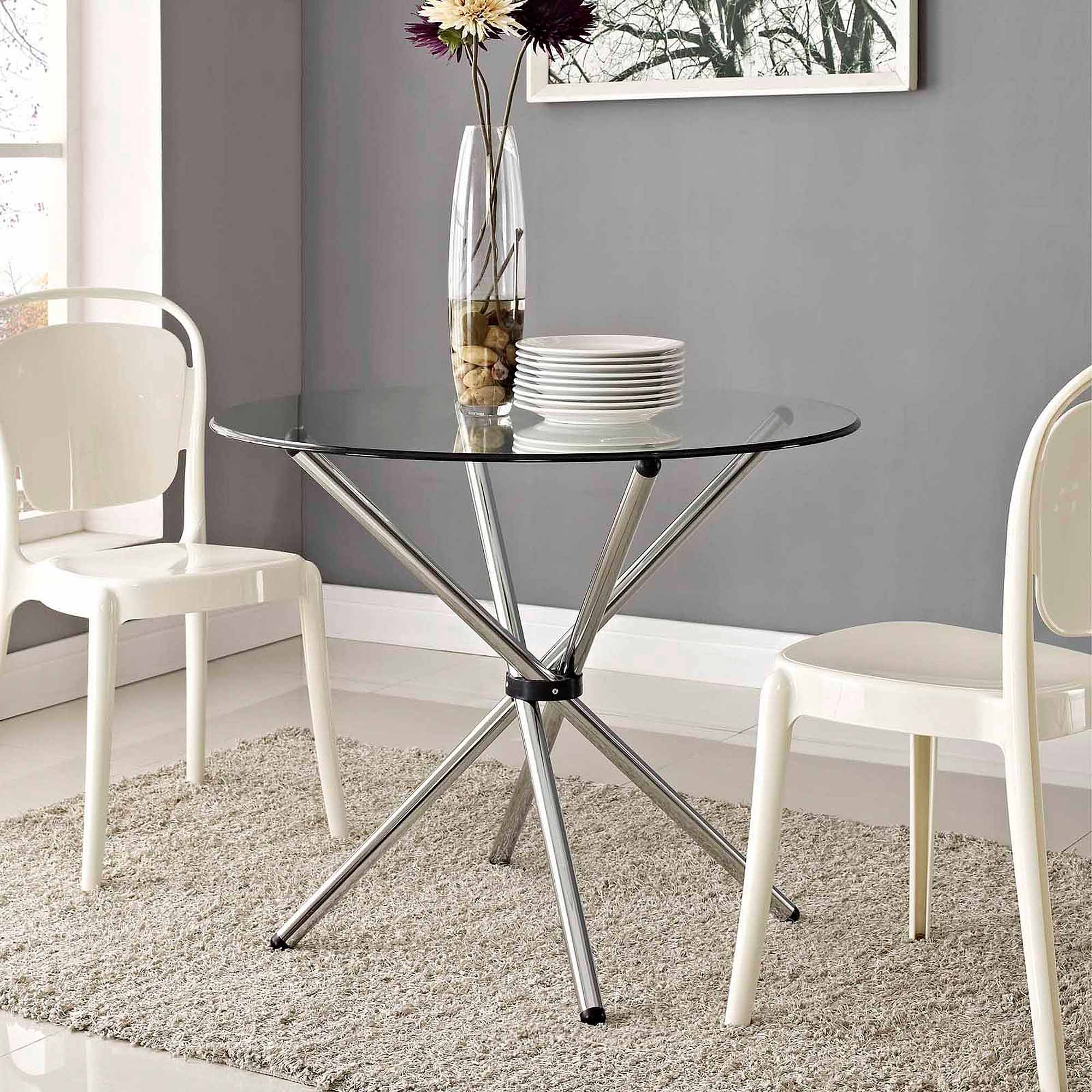 modway baton round dining table with steel base in clear glass