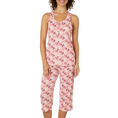 Jaclyn Intimates Womens Seashell Capris Pajama Set Small Pink multi