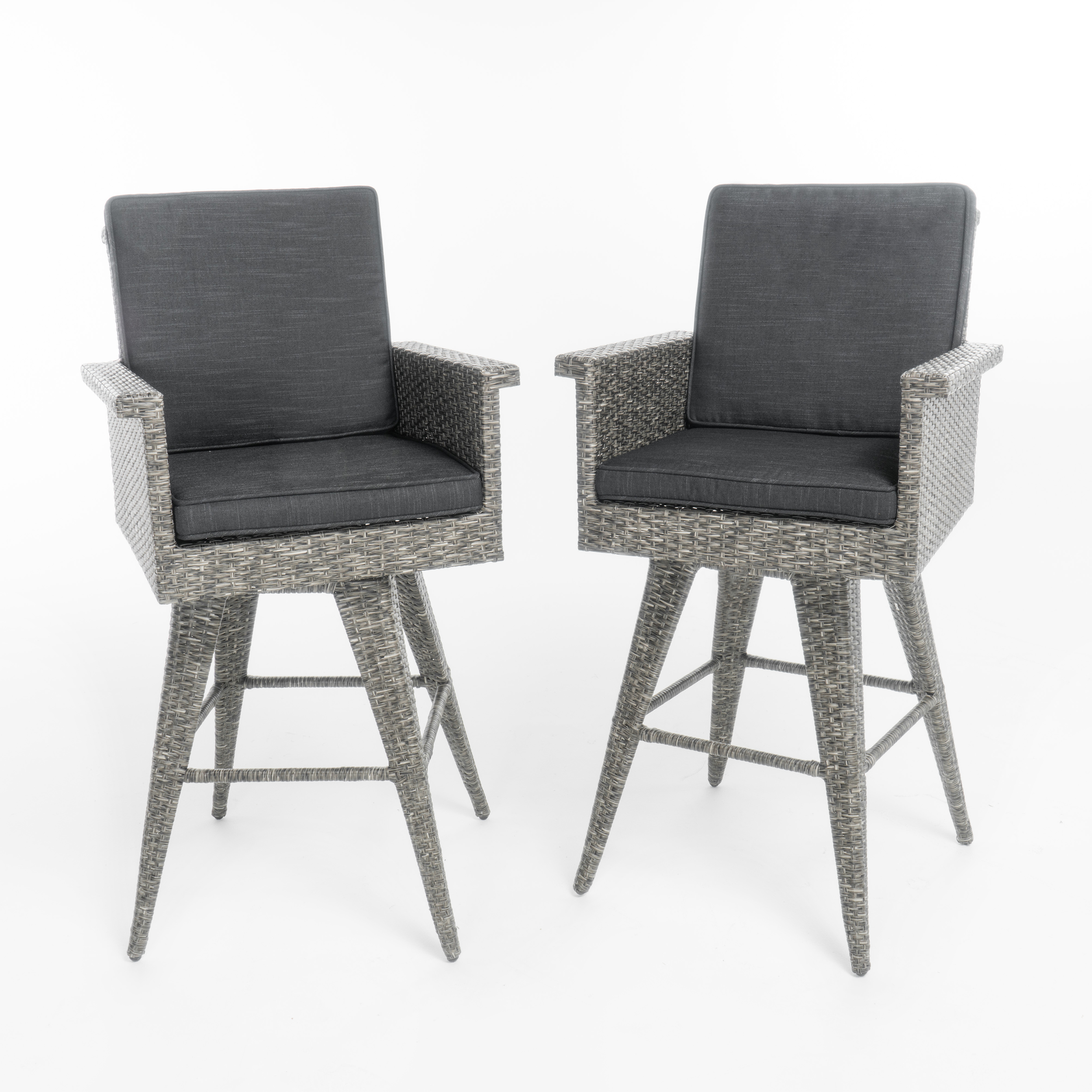 """Raleigh Outdoor Wicker 30"""" Bar Stools with Cushions, Set of 2 by GDF Studio"""
