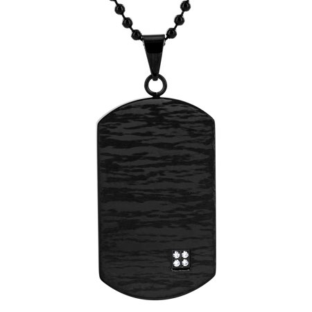 Crucible Black Plated Stainless Steel Cubic Zirconia Dog Tag Pendant - Modern Dog Tag Pendant
