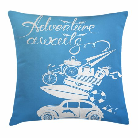 Adventure Throw Pillow Cushion Cover, Adventure Awaits Quote with Summer Holiday Items Surfboard Old Car Art Print, Decorative Square Accent Pillow Case, 16 X 16 Inches, Blue White, by - Holiday Items