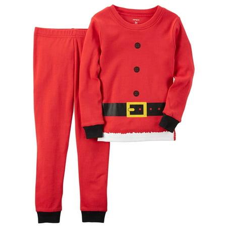 carters unisex child 2 piece snug fit cotton santa outfit christmas pjs red