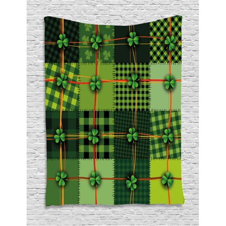 Quilt Wall Hanging - Irish Tapestry, Patchwork Style St. Patrick's Day Themed Celtic Quilt Cultural Checkered with Clovers, Wall Hanging for Bedroom Living Room Dorm Decor, Multicolor, by Ambesonne
