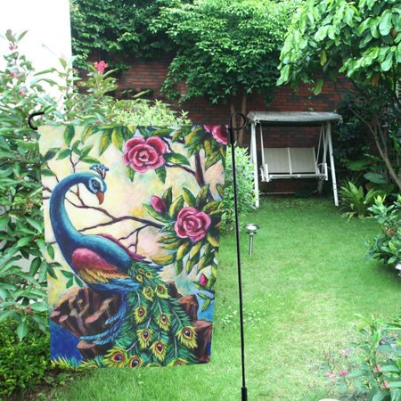 MYPOP Peacock Flowers Garden Flag Outdoor Flag Decoration 12x18 inches ()
