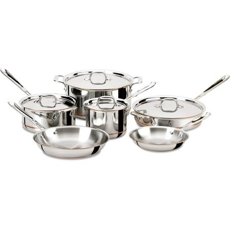 All-Clad 600822 SS Copper Core 5-Ply Bonded Dishwasher Safe Cookware Set, 10-Piece ()