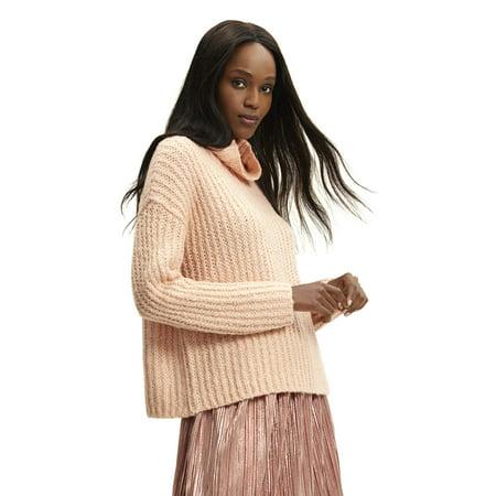 Scoop Women's Waffle Knit Turtleneck Sweater Waffle Knit Sweater