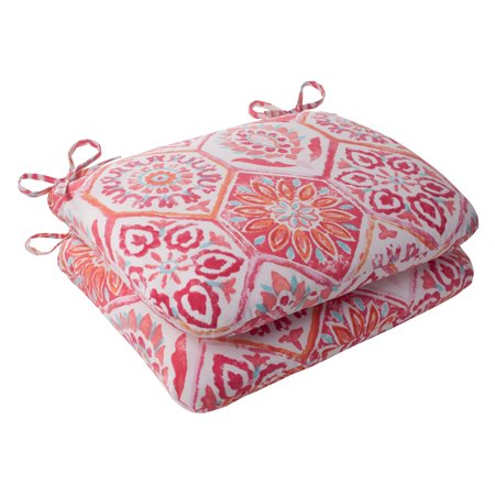 Flame Seat (Pillow Perfect Outdoor/ Indoor Summer Breeze Flame Rounded Corners Seat Cushion (Set of 2) )