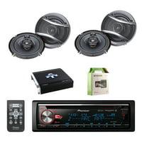 Pioneer CD Bluetooth Receiver with Enhanced Audio Functions with Pioneer 6.5 Inch 320-Watt 3-Way Car Coaxial Speakers 2-Pairs, Autotek 4 Channel Amplifier & Enrock 8 Gauge Amplifier Wiring kit