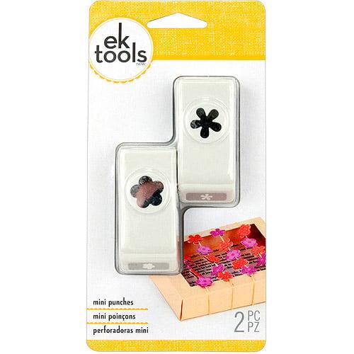 EK Success Slim Mini Paper Punches, 2/pkg, Flower & Retro Flower
