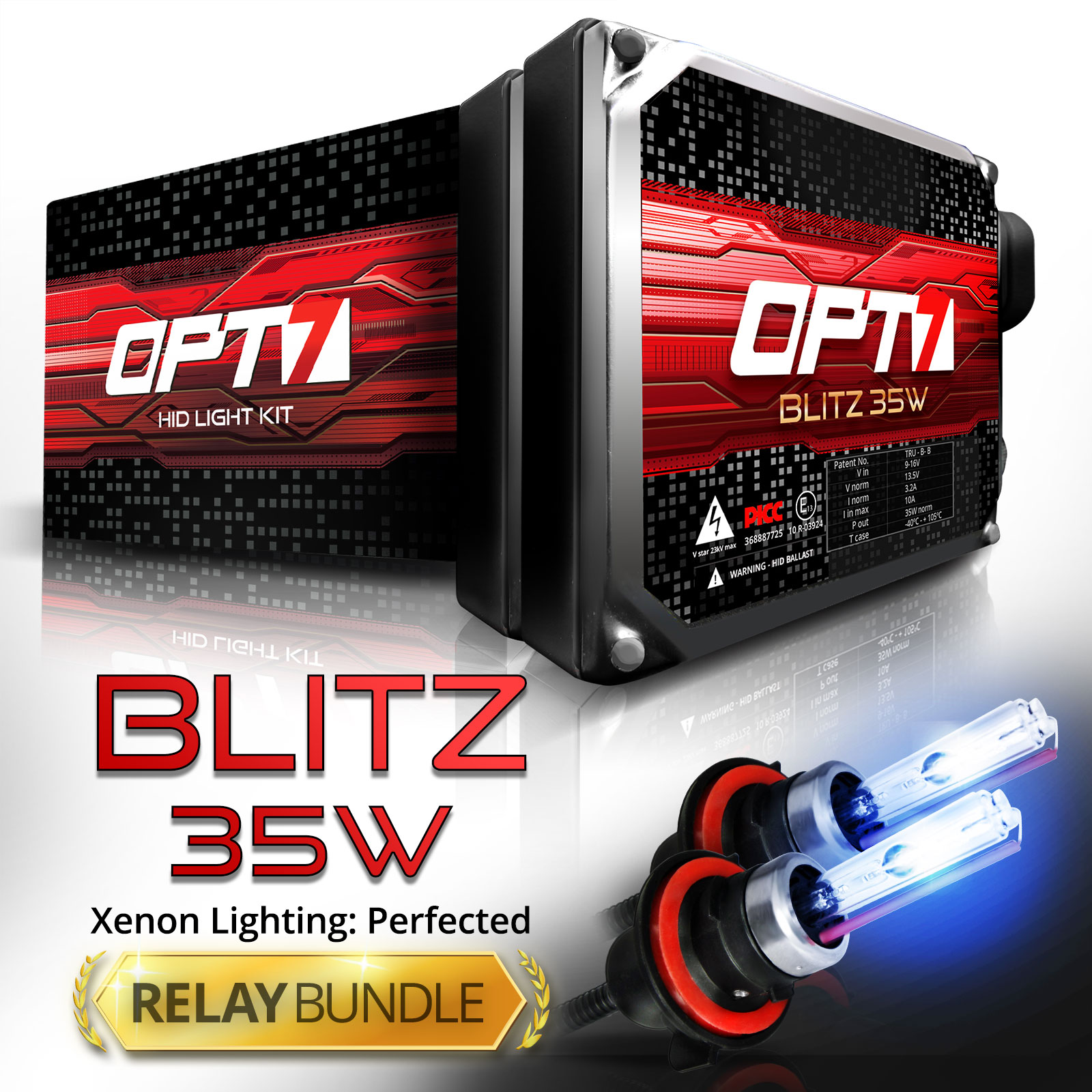 Blitz 35w HID Xenon Conversion Kit w/ Relay & Capacitors Bundle H10 [3000K Fog Yellow] 2 Yr Warranty