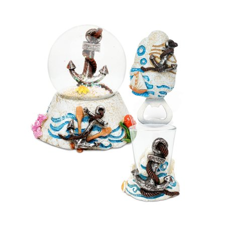 Puzzled Anchor Resin Stone Finish Collection including Snow Globe, Magnet Bot ()
