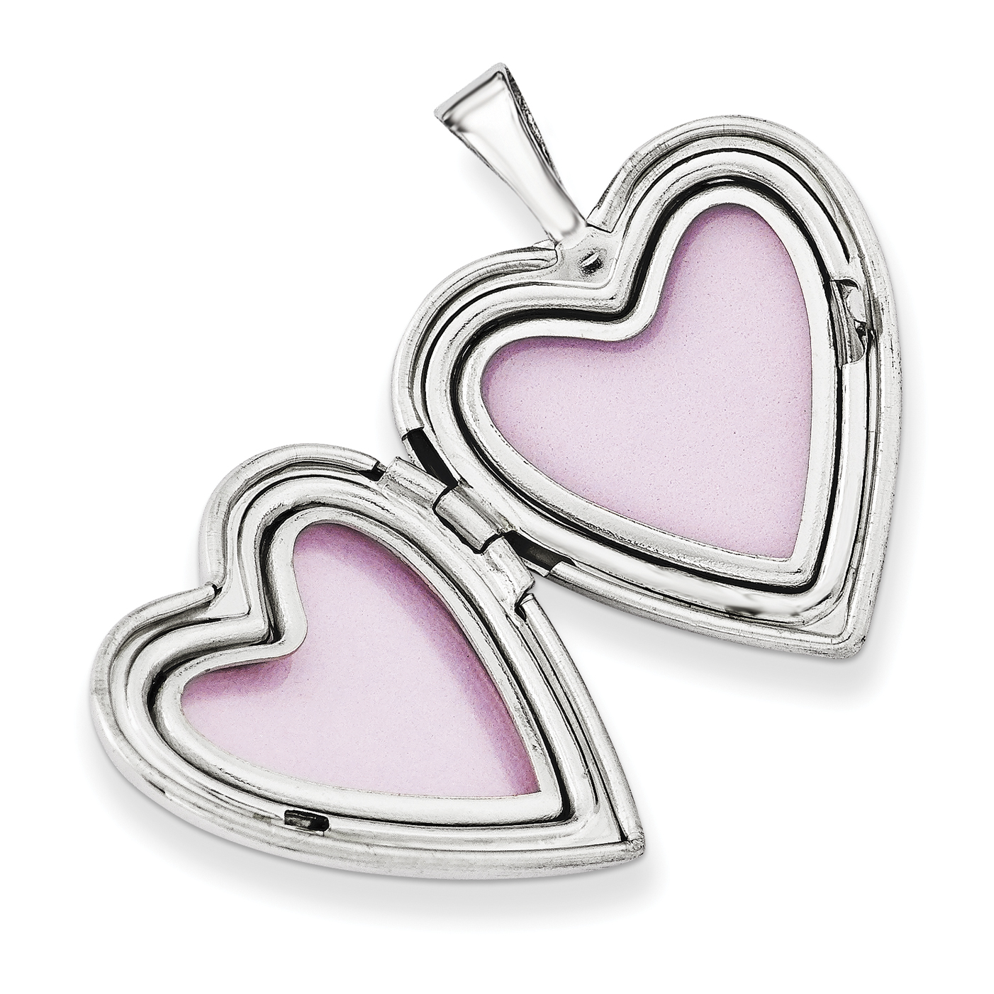 Sterling Silver Rhodium-plated Cat with Fish Heart Locket QLS619 (16mm x 16mm) - image 1 de 3