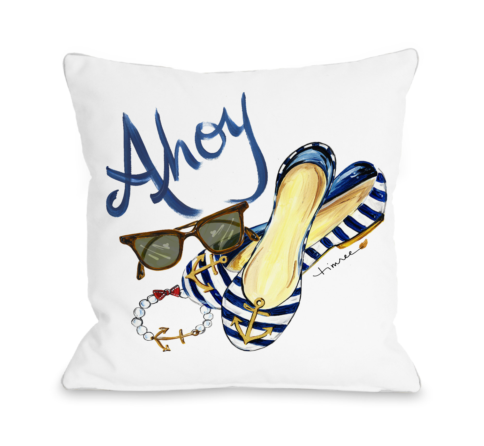 Ahoy Shoes - Multi 16x16 Pillow by Timree