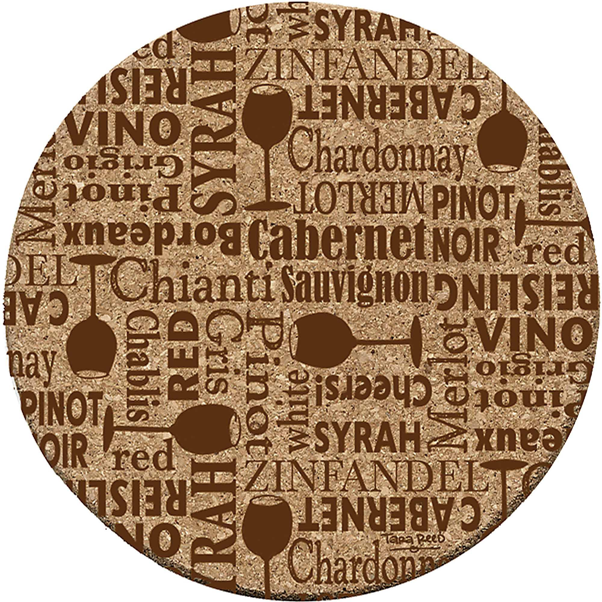 Thirstystone Cork Drink Coasters Set, Wine Words