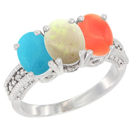 14K White Gold Natural Turquoise, Opal & Coral Ring 3-Stone 7x5 mm Oval Diamond Accent, size 6