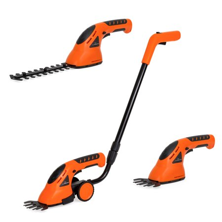 Best Choice Products 2-in-1 Cordless Electric Rechargeable Garden Grass Hedge Trimming Shears w/ 2 Blade Types - Orange